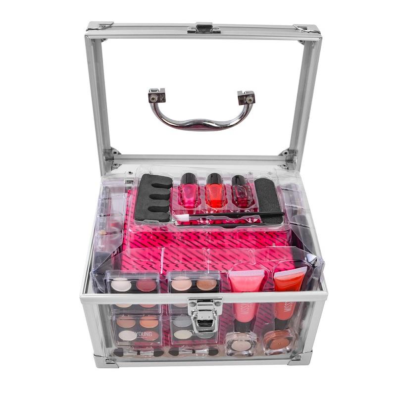 化妝套盒專業化妝全套手提箱化妝工具包女士啞光唇膏化妝刷套裝指甲套性感紅色彩妝
