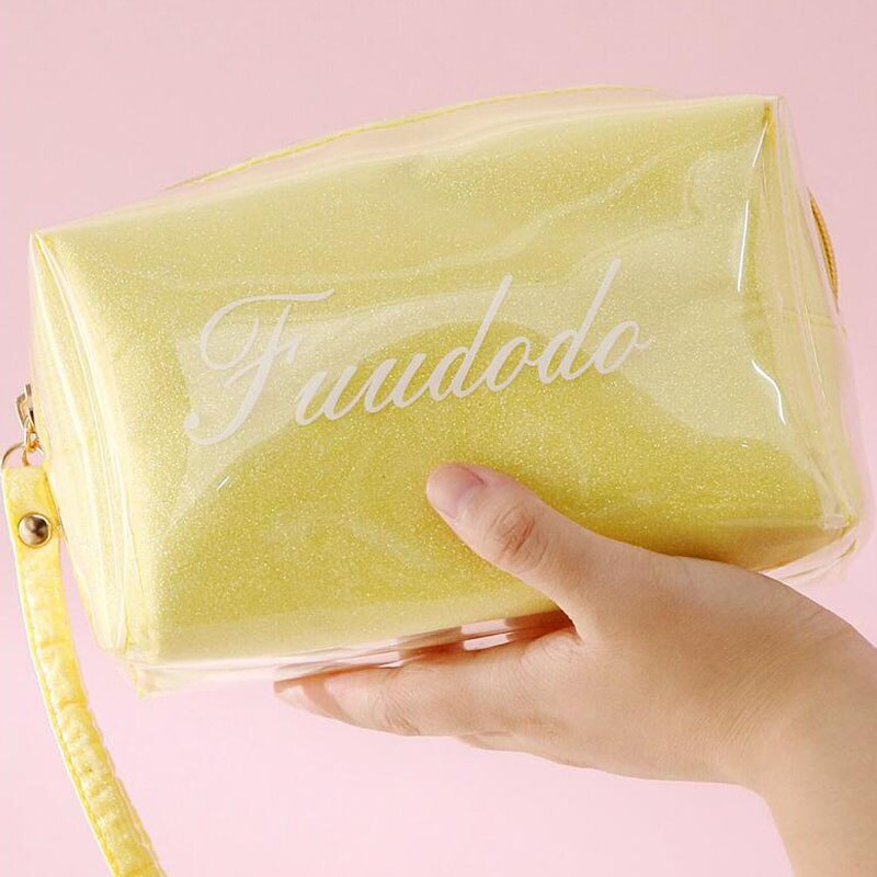 化妝工具包女士時尚化妝包美容工具包透明TPU化妝包手提包收納袋化妝水洗美容盒