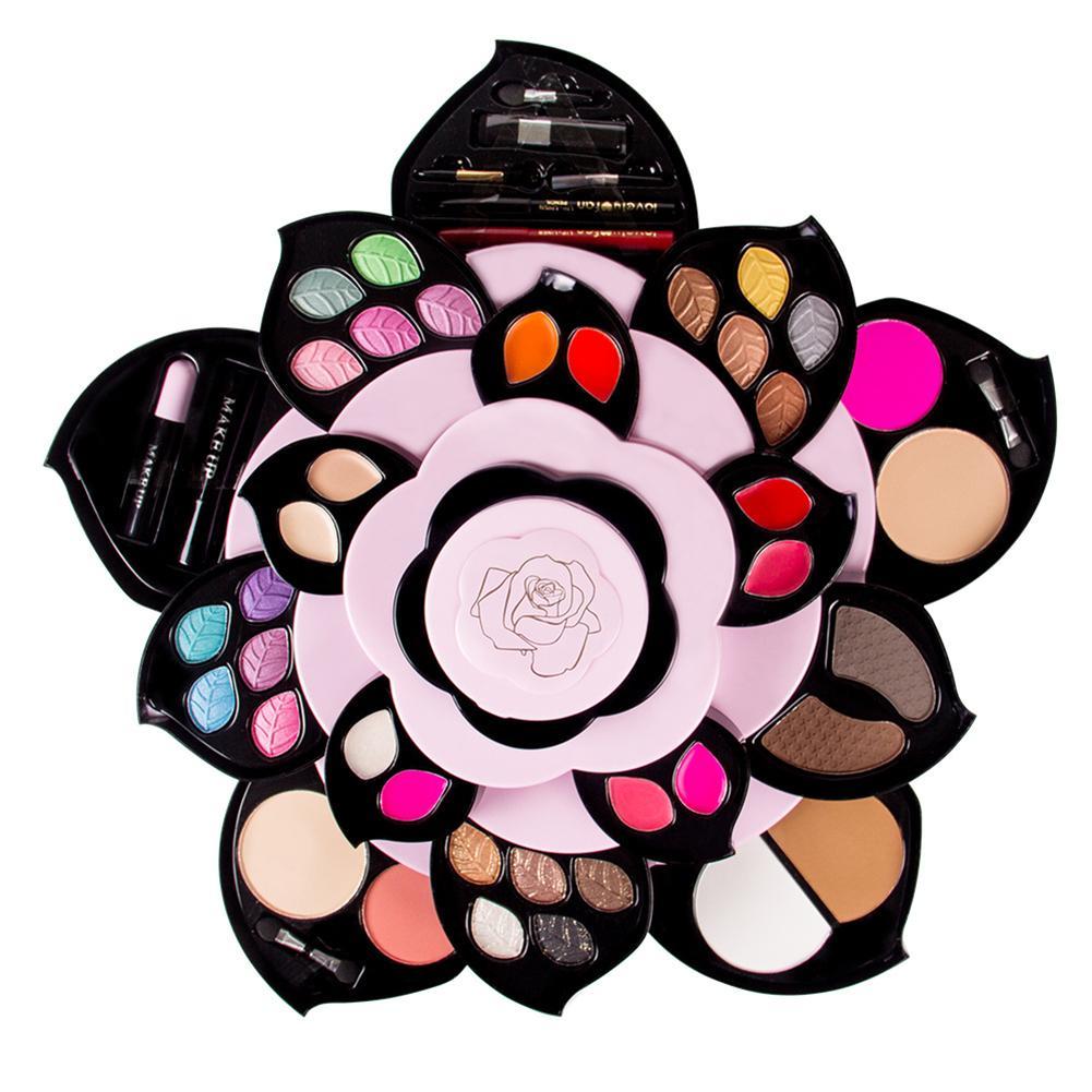 彩妝套裝旅行彩妝盒彩妝套裝與荷花風格彩盒旋轉彩妝套裝與容器