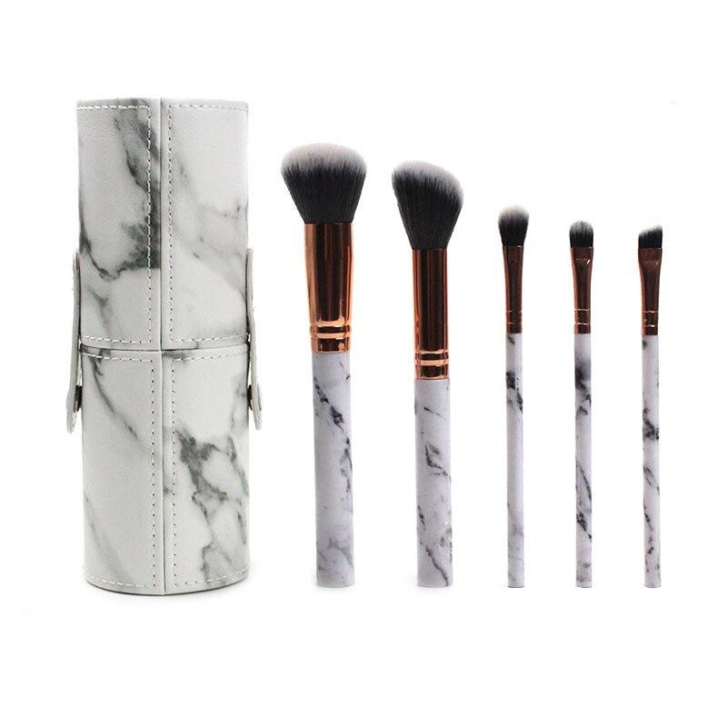 化妝工具5腿大理石化妝刷套裝便攜式化妝刷圓筒化妝刷套裝禮品美容產品