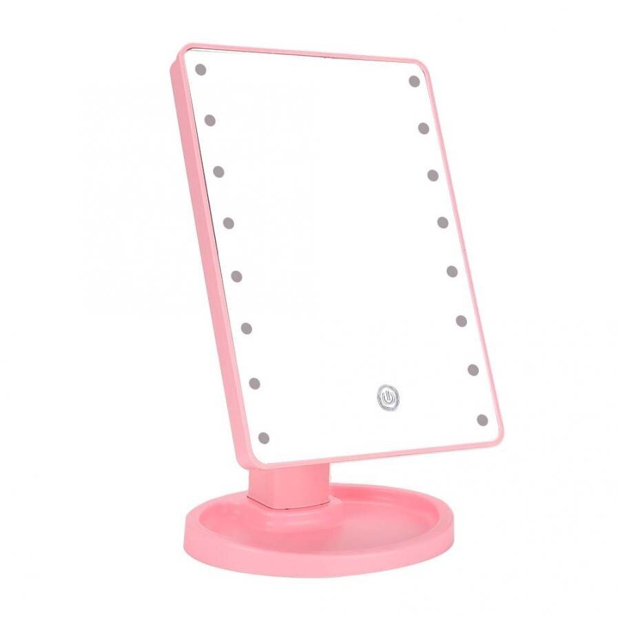 化妝鏡16 LED燈觸摸屏USB化妝鏡便攜式台式化妝鏡粉色化妝鏡燈