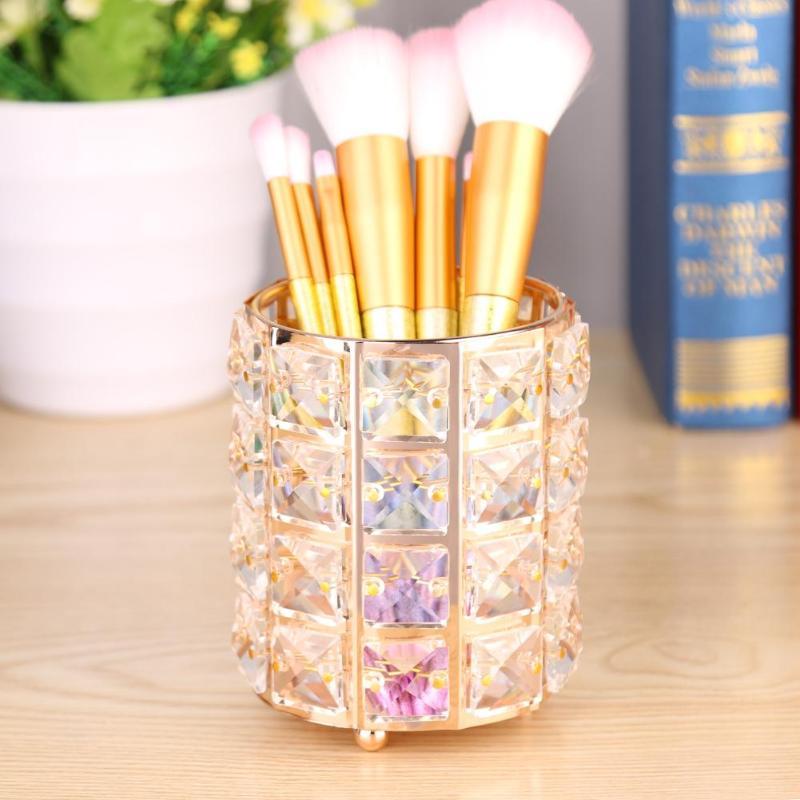化妝刷收納歐洲金屬化妝刷筒眉筆化妝收納盒珠子水晶首飾收納盒家居裝飾