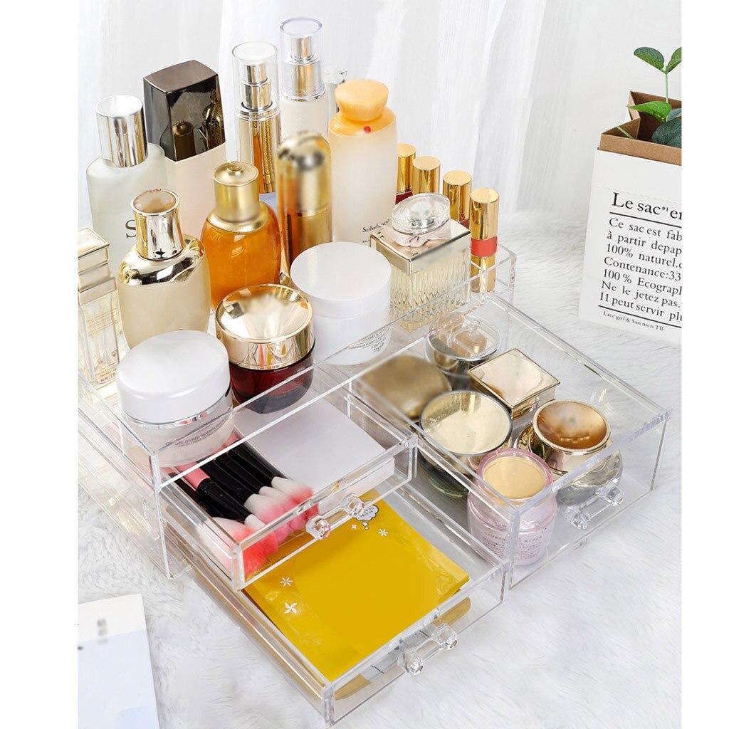 化妝收納盒3抽屜亞克力化妝品收納珠寶展示盒透明可疊放桌面化妝收納盒