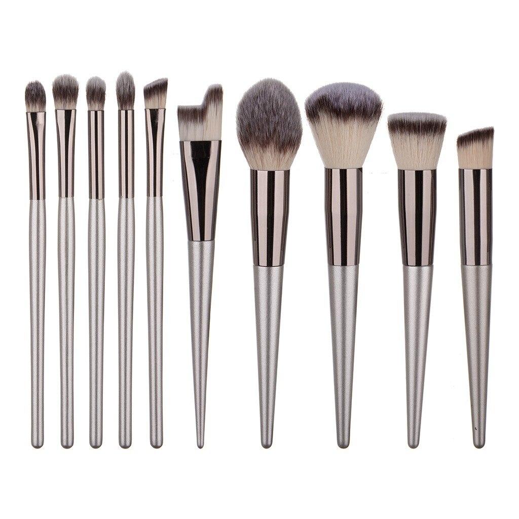 化妝工具12件木柄化妝刷粉底液粉底羊毛纖維塗料套裝化妝配件便攜式