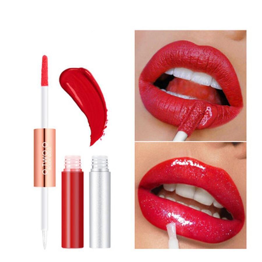 化妝唇蜜保濕輕盈凝膠雙頭微光唇膏液體彩妝6色唇蜜化妝品時尚彩妝