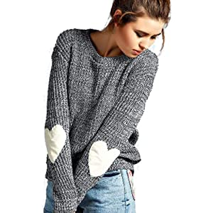 Womens Pullover Sweaters Knit Long Sleeve Cable Heart Patch Jumper Tops