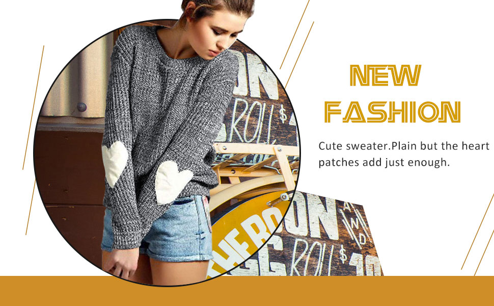Womens sweater Cute Heart Pattern Patchwork Casual sweaters for women Long Sleeve Crew Neck Sweaters