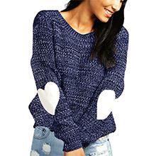 shermie Women's Cute Heart Pattern Elbow Patch Long Sleeve Pullover Sweaters