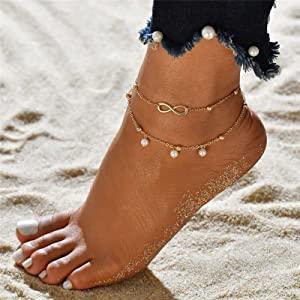 layered ankle bracelets set