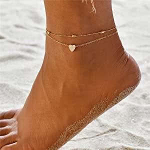 layered anklet set