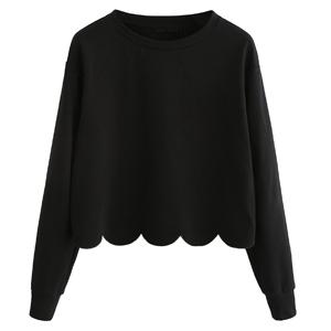 Black1#-Basic Scallop Hem Pullovers