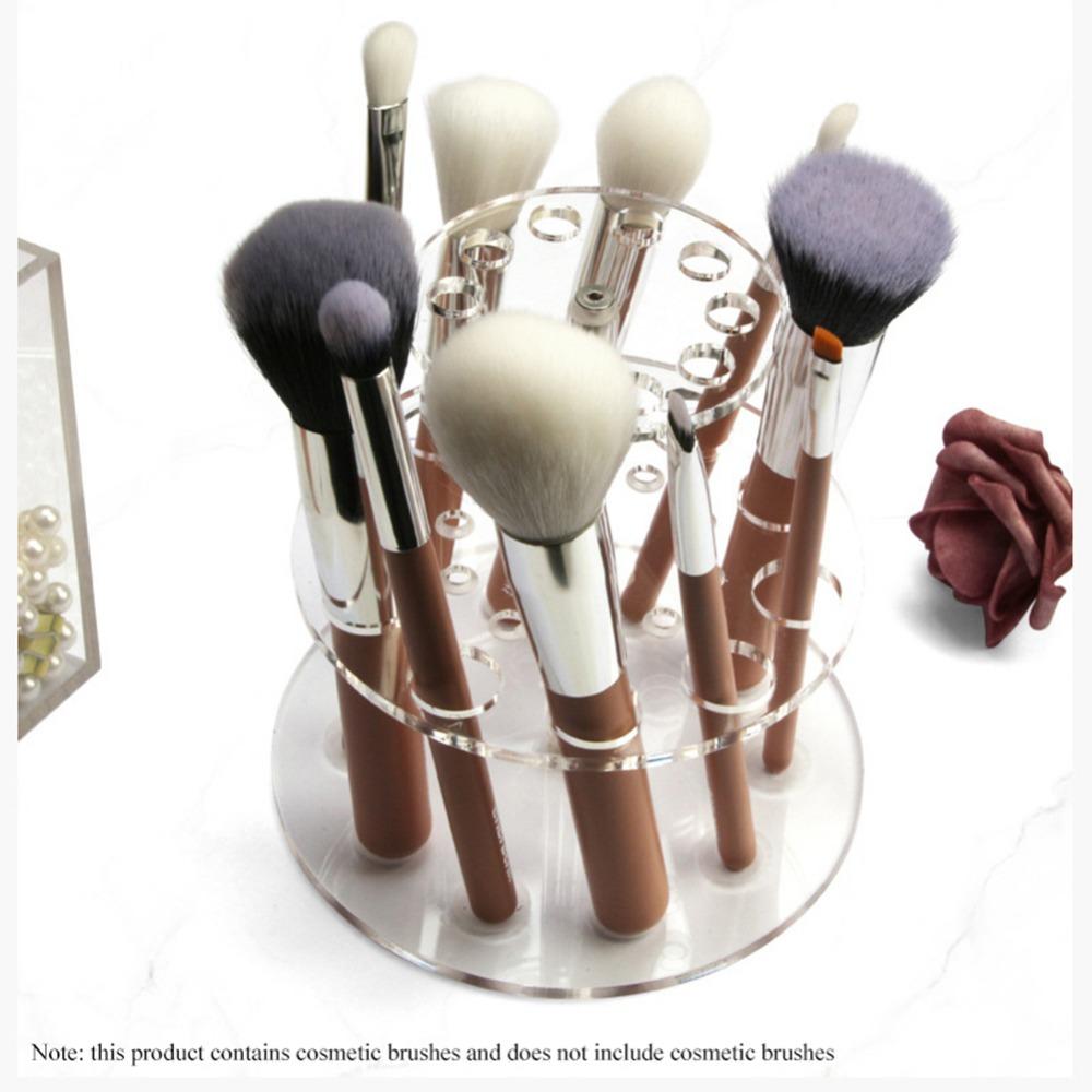 化妝工具透明化妝刷展示架亞克力雙層圓形化妝刷架