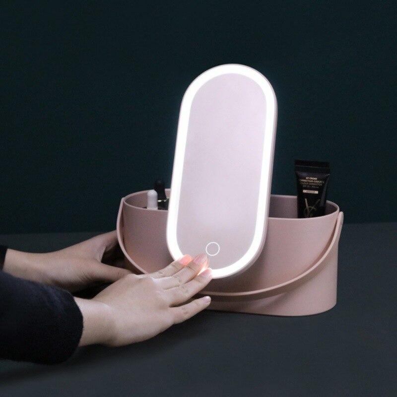 帶LED燈鏡的化妝收納盒便攜式旅行化妝化妝品收納盒觸摸燈鏡化妝盒托運