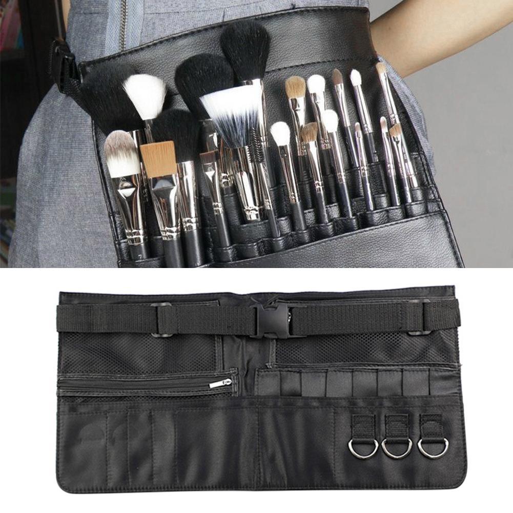 化妝收納袋PU化妝刷腰帶袋黑色隨身化妝包化妝師拉鍊收納袋化妝工具