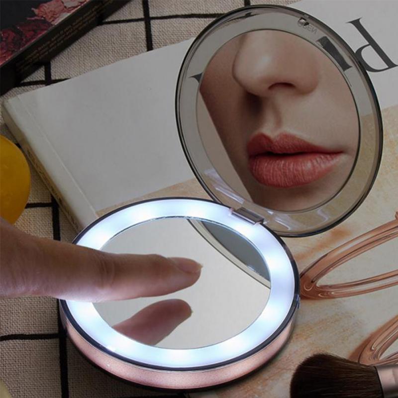 化妝鏡3色LED燈迷你化妝鏡倍放大鏡旅行便攜式感應照明女孩禮物TSLM2