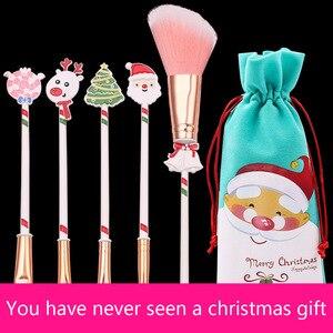 化妝刷麋鹿聖誕老人聖誕節禮物化妝刷初學者眉毛眼影腮紅刷5合1套裝美容工具sh1100111