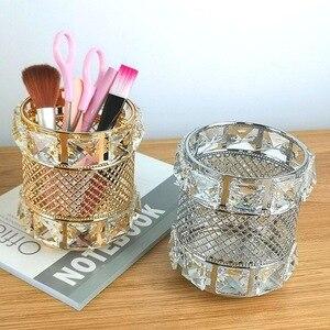 化妝刷架金色水晶玻璃圓形筆筒收納盒鑽石化妝刷袋化妝筆收納盒