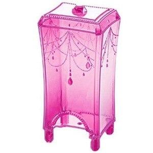 化妝化妝品收納盒實用大容量收納架棉墊棉籤盒收納盒化妝塑料工具粉紅色