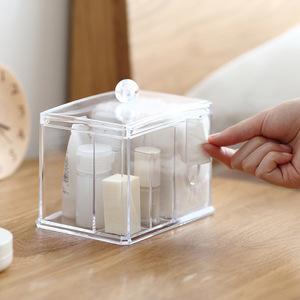 化妝收納盒家用收納盒PS化妝海綿架化妝收納盒化妝棉棉籤帶蓋的化妝棉