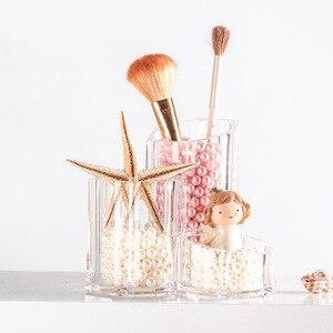 化妝收納盒透明三合一化妝刷收納杯梳妝台收納盒整理化妝品化妝盒