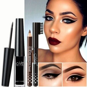 化妝套裝防水持久眼線液+2支眉筆化妝套裝專業眼妝