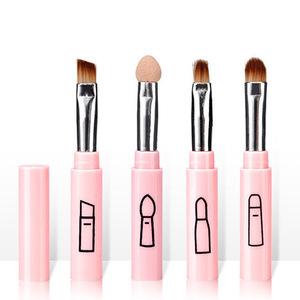 化妝刷粉紅色迷你便攜式化妝刷套裝四件套