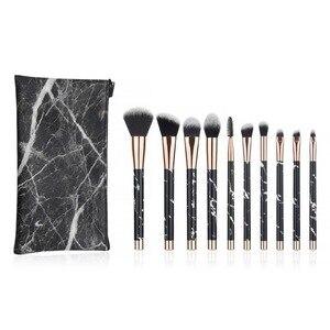 化妝刷私人標籤套,帶化妝刷套10支尼龍毛木柄,用於日常化妝刷
