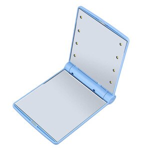 化妝折疊化妝鏡便攜式緊湊型袖珍鏡開口Portabl帶8個LED燈化妝工具禮品