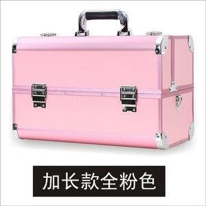 化妝箱高品質手提專業化妝箱大容量鋁合金手提箱化妝師化妝包盒