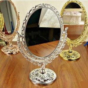 化妝鏡-緊湊型便攜式橢圓歐式複古蕾絲化妝品化妝台型鏡子,大尺寸,台式化妝鏡
