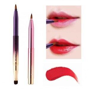 化妝刷新型便攜式唇刷人造纖維唇部輪廓圖繪畫化妝化妝品工具化妝刷