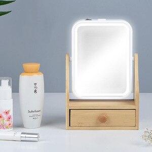 化妝收納盒20X放大鏡化妝收納盒LED燈化妝鏡美容盒女性用品收納盒