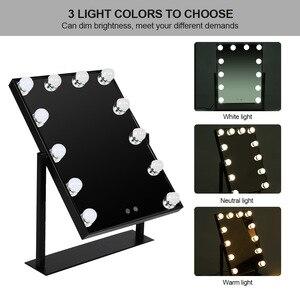 化妝鏡12LEDs好萊塢風格可調光桌上燈泡虛榮化妝鏡燈USB供電的美容化妝鏡燈b