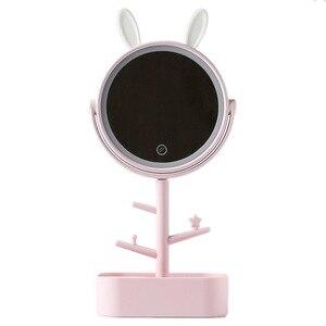 帶燈化妝鏡帶燈檯式旋轉鏡放大鏡4倍收納女士化妝燈帶收納盒abs