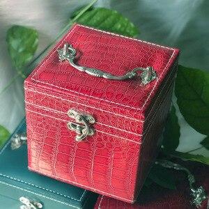 化妝品收納盒耳環項鍊首飾收納化妝收納多層便攜式收納盒旅行化妝收納盒