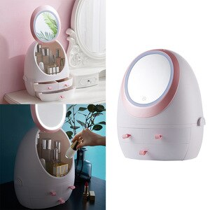 化妝鏡化妝化妝品收納盒收納盒LED鏡子,帶化妝鏡