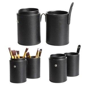 化妝工具箱中的化妝刷架盒PU皮革收納架化妝杯盒旅行筆架收納盒化妝工具