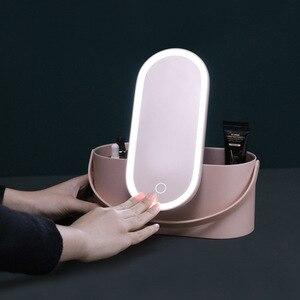 化妝收納盒,帶LED燈觸摸屏便攜式旅行化妝盒,帶化妝鏡檯燈化妝品收納盒