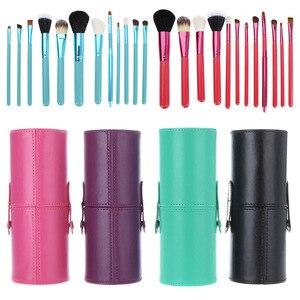 化妝美容工具12支化妝刷套裝圓筒眉筆邊緣刷韓國化妝粉底刷