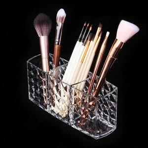 化妝刷架收納盒菱形圖案3槽透明化妝刷收納盒亞克力化妝刷收納盒