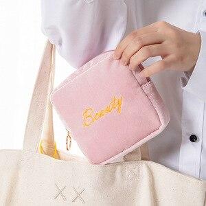 化妝袋防水棉塞收納袋便攜式化妝口紅鑰匙耳機數據線收納袋化妝箱sanrio錢包