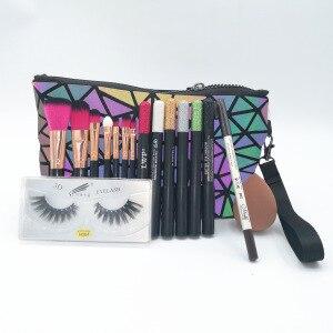 化妝盒專業旅行化妝包化妝盒女士眼影筆化妝刷套裝假睫毛眉筆