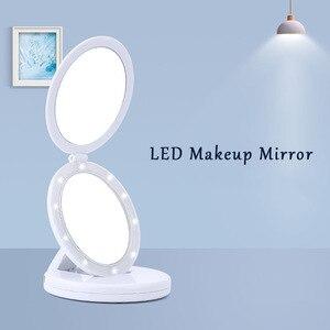 帶燈的化妝鏡M154圓形三折2面化妝虛榮鏡化妝鏡5倍放大照明鏡