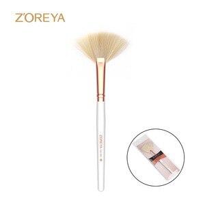 化妝刷人造絲化妝工具白色木柄熱化妝刷扇形刷