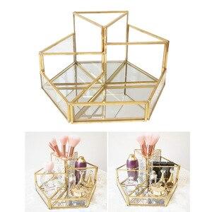 化妝刷架玻璃化妝盒化妝刷眼線筆拋光指甲瓶桌面托盤