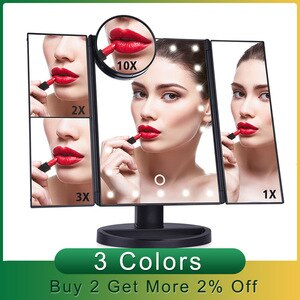 化妝鏡專業LED觸摸屏化妝鏡22光錶台式化妝鏡1X / 2X / 3X / 10X放大鏡