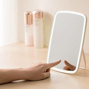 化妝鏡LED觸摸屏內部電池化妝鏡台式化妝鏡便攜式LED發光化妝品手鏡