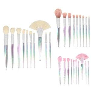 化妝刷套裝10個PCS水晶風格化妝刷Kabuki Foundation腮紅遮瑕筆眼影眼線筆化妝工具