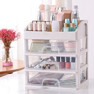 化妝品收納盒精美化妝品收納盒抽屜指甲油容器化妝品盒化妝刷架