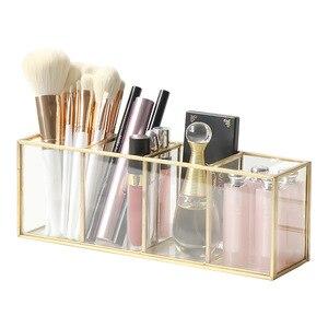 化妝刷收納盒睫毛膏口紅盒化妝品盒刷子眼線筆化妝盒化妝工具黃銅收納盒